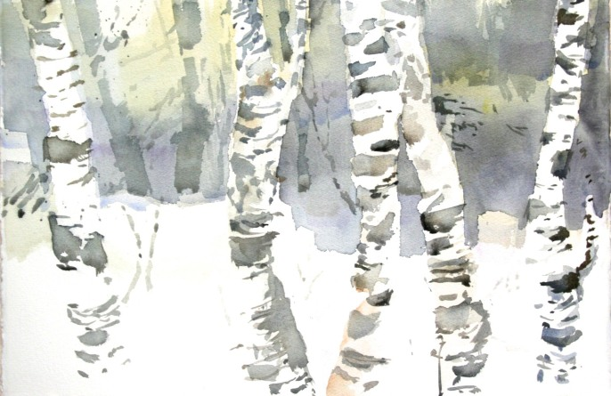 """Björkar"" akvarell 75 x 105 cm"