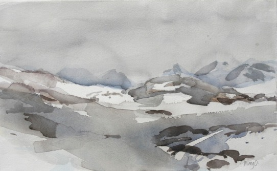 """Sommarfjäll"" akvarell 38 x 56 cm"