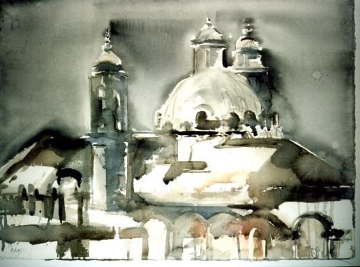 """Väktarna"" akvarell 56 x 76 cm"