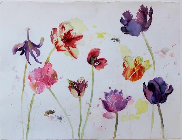 Ur min trädgård akvarell 56 x76 cm